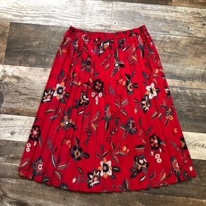 Alfred Dunner Red Floral Pleated Midi Skirt